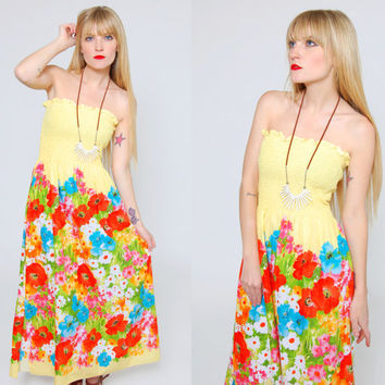 Vintage 80s YELLOW Maxi Dress Bright FLORAL Print Tube Dress Strapless Hippie Sun Dress