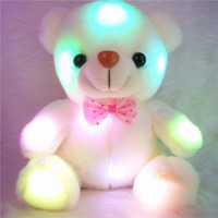 2015 New Colorful luminous white Bear toys Dazzling Lights brinquedos hug girls conjunto menina Wedding Birthday Valentines Gift (Color: White) [7655727750]