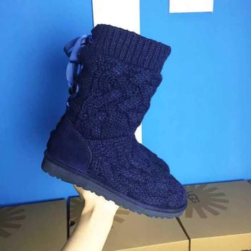 LFMON UGG 1008840 Knitted Women Fashion Casual Wool Winter Snow Boots Blue
