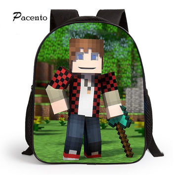 New Fashion 2017 Cartoon Backpack for Children MineCraft Children Backpack Kindergarten Backpack Boy Student Bookback Boy Bag