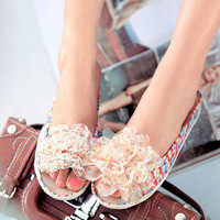 Handmade Floral Lace Flower Sandals/Slippers