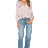 Lucca Couture Long Sleeve Peplum Top in Mauve