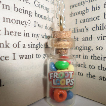 Miniature Glass Bottle Necklace Froot Loops
