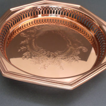 Coppercraft Guild Octagonal Serving Tray with Divided Glass Insert Unique Excellent