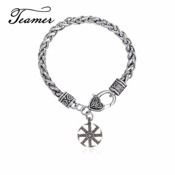 Teamer New Antique Sun Wheel Supernatural Pendant Bracelets Talisman Amulet Viking Runes Slavic Kolovrat Symbol Wicca Jewelry