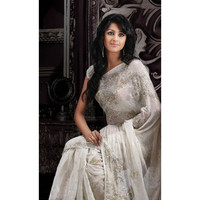 Ablicant Off White Faux Shimmer Georgette Saree with Blouse Online Shopping: SSK4762B