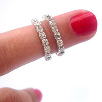 2 Above The Knuckle Ring - Stackable  Rhinestones Above The Knuckle Ring -Silver Rhinestone Knuckle Rings -  Set of 2 by Tiny Box -