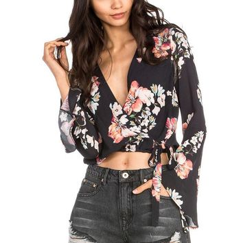 Women's Floral Print Wrap Crop Top with Bell Sleeves