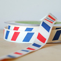 "Air Mail Stripe Ribbon Cotton Twill Trim Tape .75"" Wide 2 Yards for Sewing Scrapbooking Gift Wrap"