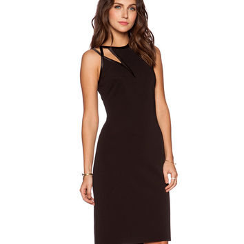 Black High Neckline Sleeveless Midi Dress with Cut-Out Detail