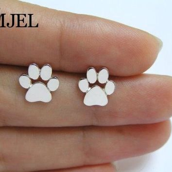 SMJEL  New Accessories Fashion bijoux Tiny Pug jewelry Cute Cat Print Earrings for Women Dog Paw Studs Earrings brincos 2017