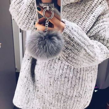 Dower Me Rabbit Fur Ball Tassel Mirror Case For Iphone X 8 6 6S 7 Plus 5S 4S Samsung Galaxy Note 8 5 4 3 S5/4/3 S8/7/6 Edge Plus