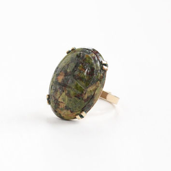 Vintage 12k Rosy Yellow Gold Filled Carved Unakite Scarab Ring - Retro Adjustable Green Beetle Gem Egyptian Revival Statement Jewelry, WRE