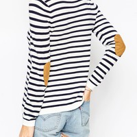 ASOS Jumper In Stripe With Oval Tan Suede Elbow Patch at asos.com