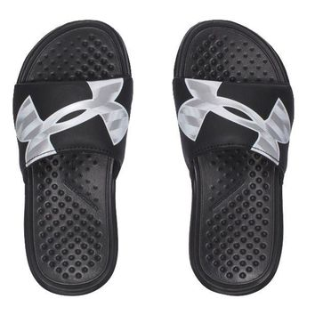 Under Armour Boys' UA Strike Reflective Slides Sandals