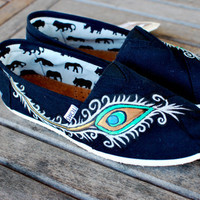 Custom hand painted peacock toms shoes