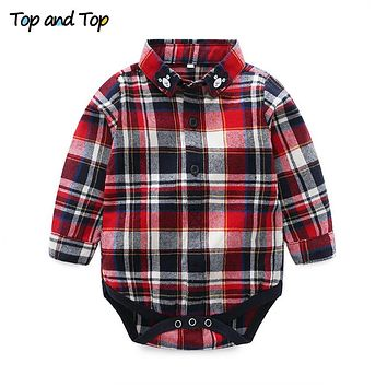 Autumn Fashion Cotton Toddler Boys Clothes Long Sleeve Plaid Baby Rompers Shirts Infant Tops Newborn Clothes