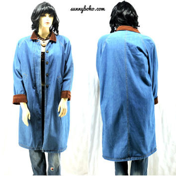 80s denim duster coat size L /XL / 1X  / plus size / boho western 1980s long blue jean coat fully lined long denim coat SunnyBohoVintage