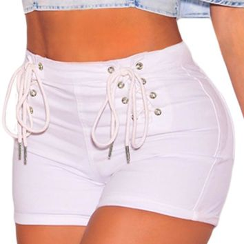 White Denim Double Lace Up Hot Shorts