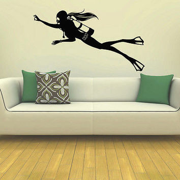 WALL DECAL VINYL STICKER GYM SPORT SCUBA DIVER DIVING SB243