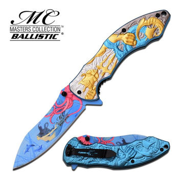 Master Collection 4.75 Inch Closed Fantasy Spring Assisted Folding Knife Gold