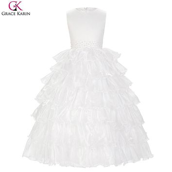 Grace Karin Flower Girl Dresses For Wedding Child Party Communion White Graduation Dresses Kids Girls Evening Pageant Ball Gowns