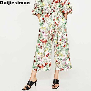 Vintage Floral Leaf Print Wide Leg Pants Sashes Tied Bow Pockets Women High Waist Loose Trousers Casual Pants Summer Streetwear