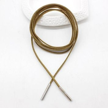 Women's Light Brown Leather Lariat Layered Choker/Tie Necklace with Silver Accents