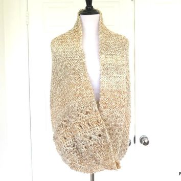 Large Beige Infinity Shawl, Oatmeal Color Knit Circle Shawl