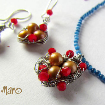 Bird Nest Pearls Red Glass Blue Cats Eye by SandstarJewelry