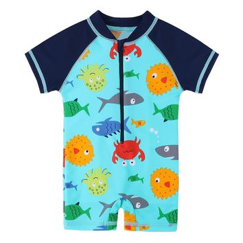 BAOHULU Boys Swimwear Cute Kids Baby Swimsuit with Cartoon Pattern Toddler Boy Bathing Suit One Pieces Swim Wear for Children