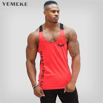 YEMEKE Men's Body Slimming Compression Sleeveless Tight vest Fitness Moisture Wicking Workout Vest Muscle Tank Top