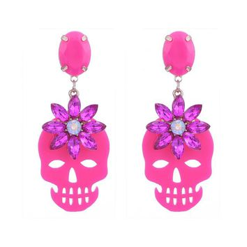 Crystal Stone Beautiful Color Drop Earrings For Woman Zinc Alloy Pendents Resin Skull Earrings Fashion Jewelry Gifts