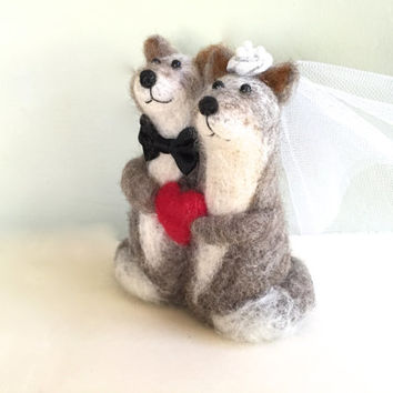 Silver wedding cake topper silver fox cake topper bride and groom Mr and Mrs red heart gift needle felted felting felt wool brown grey cute