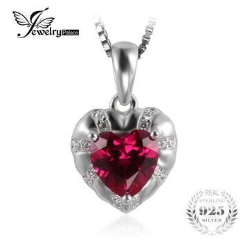 JewelryPalace Love Heart 2.81ct Created Ruby Necklaces & Pendants For Women 925 Sterling Silver 45cm Chain Wedding Fine Jewelry