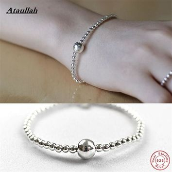 Ataullah 925 Sterling Silver Bracelet Ball Chain Genuine Solid Silver Fashion Women Round Bracelets Bangles High Quality BSW427