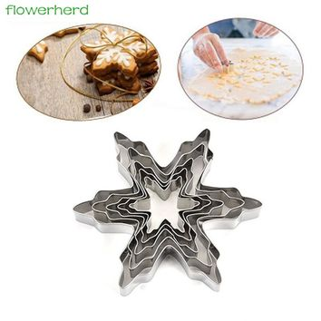 5pcs/lot New 3D Christmas Snowflake Shape Stainless Steel Cookie Cutter Cake Decorating Fondant Cutters Tool Cookies Mold