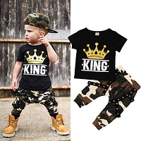 Pudcoco Boy Set 0-5Y Newborn Kids Baby Boys Tops T-shirt Camo Pants 2PCS Outfits Set Clothes 0-5Years
