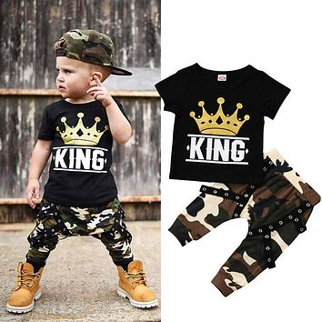 King With Crown -  Baby Kids Boys Camouflage Suit Tops T-shirt + Camo Pants 2PCS