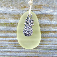 Fresh Pineapple Seaglass Necklace Sunshine Yellow Summer Tropical Beach Boho Chic Hawaiian Style by Wave of Life™