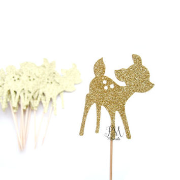 12 Gold Glitter Fawn Cupcake Toppers  - 1st Birthday, Birthday Cupcake Topper, wild party cake topper, wild one party, boho birthday