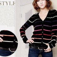 Elegant & Fashionable Long Sleeve Stripe V-neck Knitting Cardigan----Black