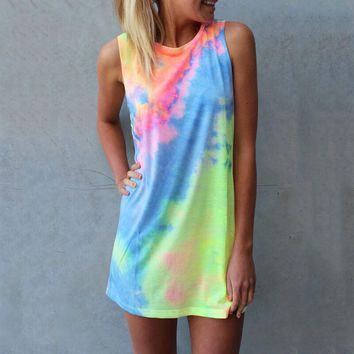 Women Summer Mini Casual Sleeveless Tie dyed Dress