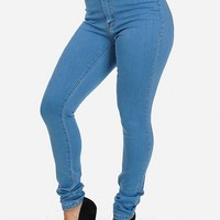 High Waist Skinny Dark Blue Jeans