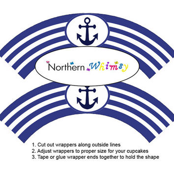 Navy Blue Nautical DIY Printable Cupcake Wrapper Set – cupcake wrappers with navy blue and white stripes & anchor graphic INSTANT DOWNLOAD