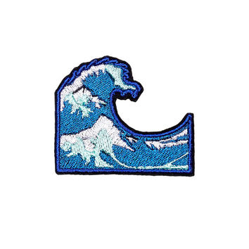 Wave Patch Iron On Applique Embroidered Patches Machine Embroidery Design