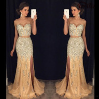 Modern 2 Piece Prom Dresses Sleeveless Sweetheart Off The Shoulder Side Slit Champagne Mermaid prom Dress Vestido De Prom PD69