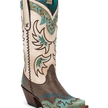 Tony Lama 100% Vaquero Espresso & Turquoise Wingtip Cowgirl Boots - Snip Toe - Sheplers
