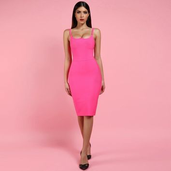 Women's Hot Pink Bandage Dress