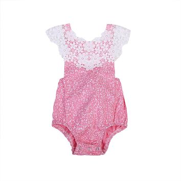 Pink Lace Infant Baby Girls Sleeveless Romper Back Cross Jumpsuit Toddler Summer Sun-suit Clothes Outfit
